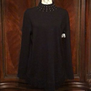 NWOT RAFAELLA SWEATER WITH GOLD BEADING AT NECK